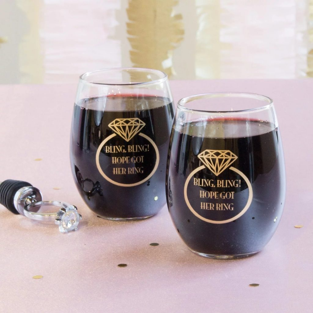 Cooking themed bridal shower personalized stemless wine glasses.
