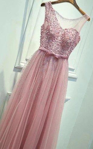 Organza Lace Pink Bridesmaid Dress