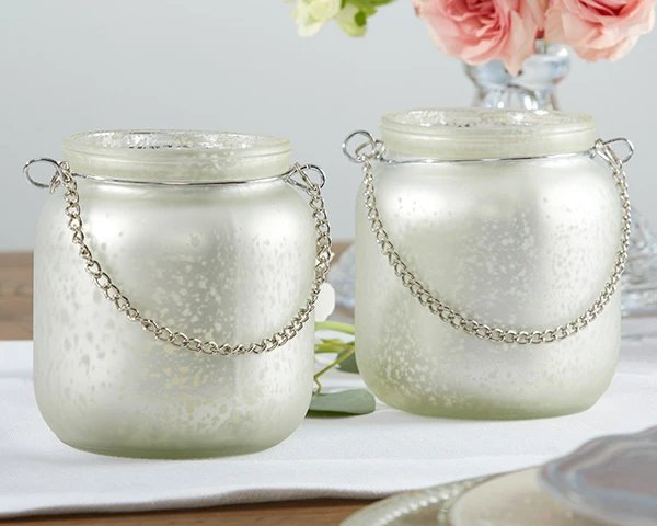 Champagne Frosted Mercury Glass Hanging Lanterns