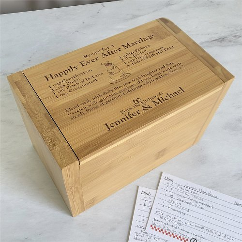 This personalized recipe box makes for a unique bridal shower idea.