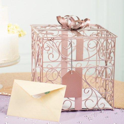 Rose Gold Ornate Metal Reception Card Box
