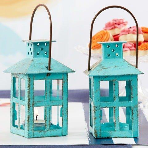 Vintage Blue Distressed Lanterns