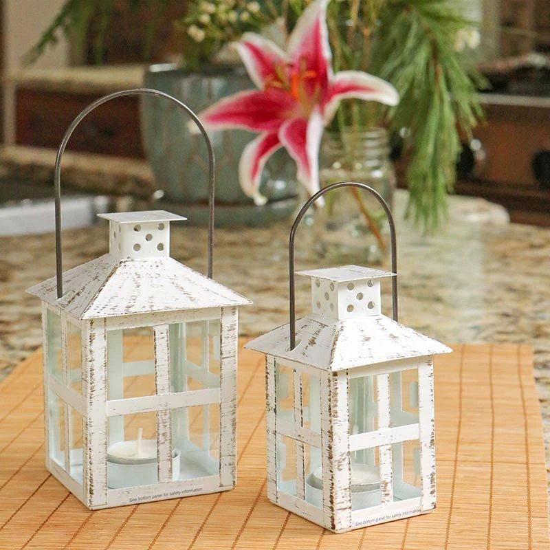 Vintage White Distressed Lanterns
