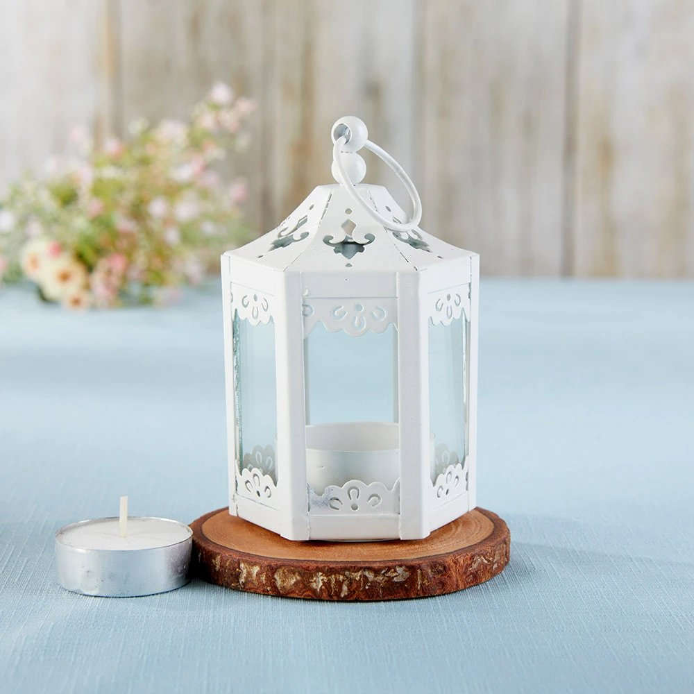 This lovey hexagon mini decorative lanterns can be used throughout your venue to enhance your decor.