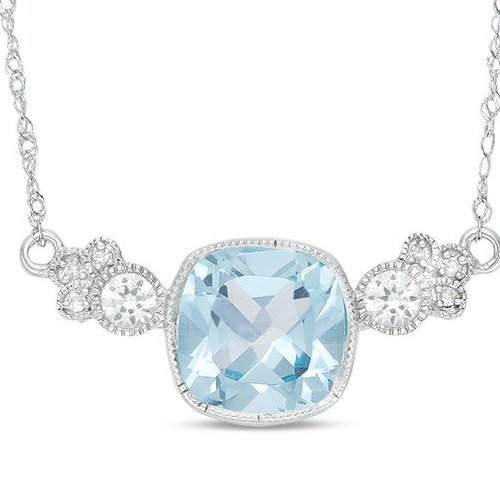 Blue Topaz Diamond Accent Necklace