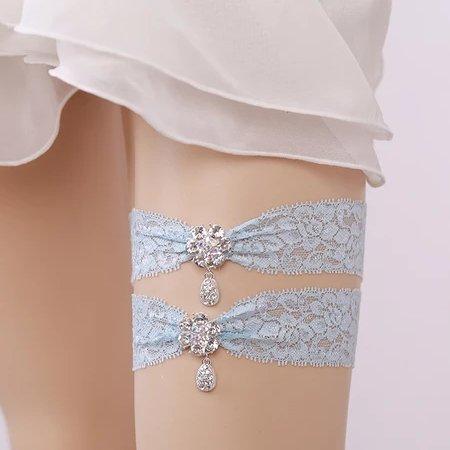 Diamond Lace Blue Bridal Garters