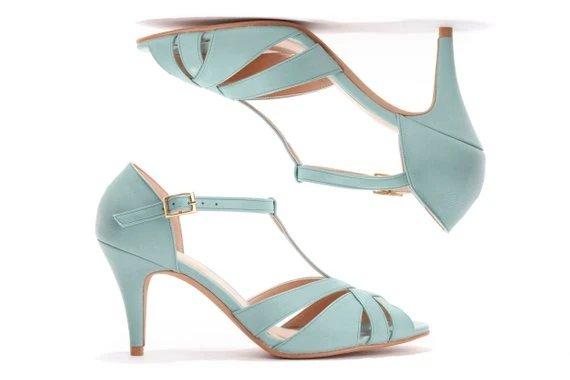 Light Blue High Heeled Vintage Style Wedding Sandals