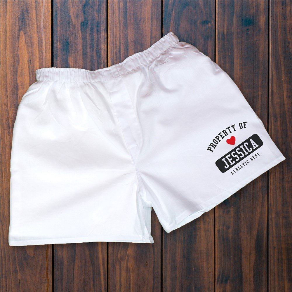 Personalized Boxer 'Property Of' Honeymoon Couple Bridal Shower Gift Ideas