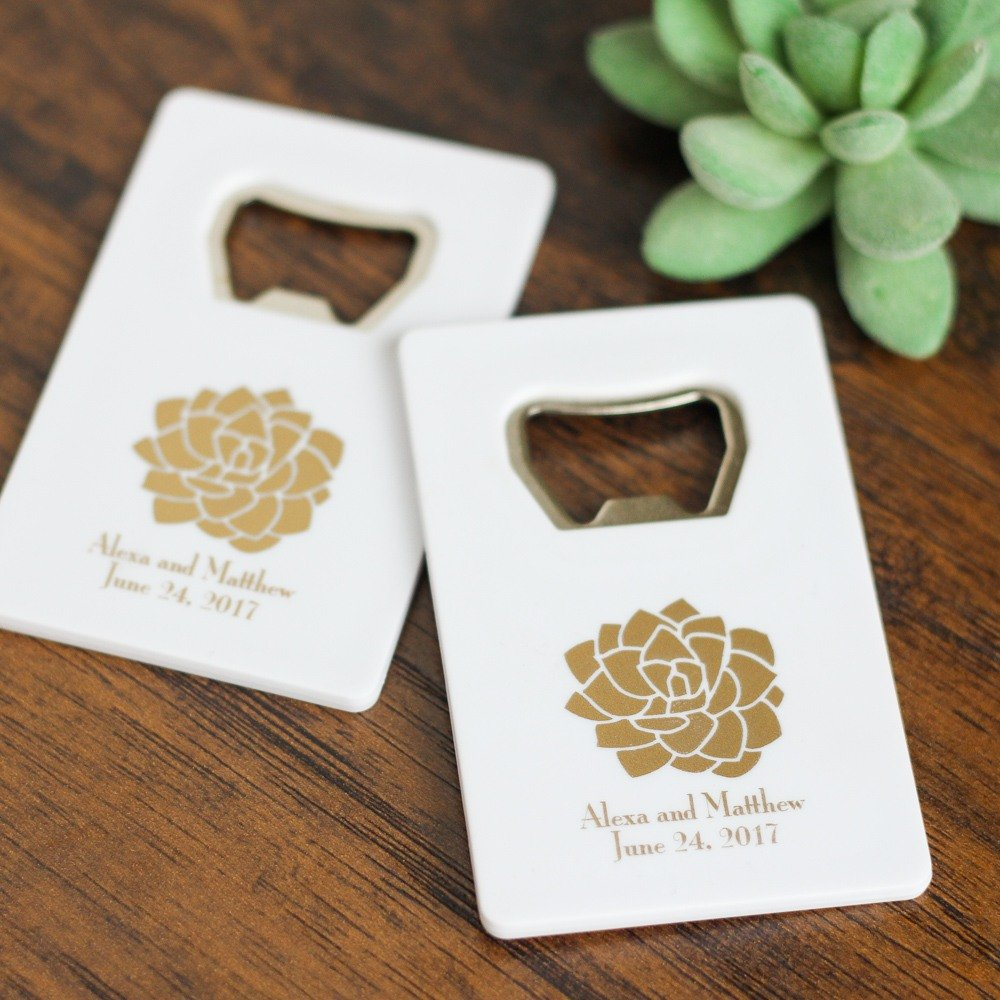 Personalized Credit Card Bottle Opener Practical Wedding Favors