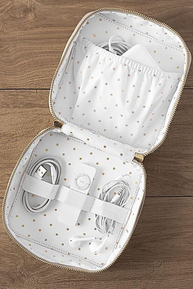 Personalized Vegan Leather Travel Tech Case Couple Honeymoon Bridal Shower Gift Idea