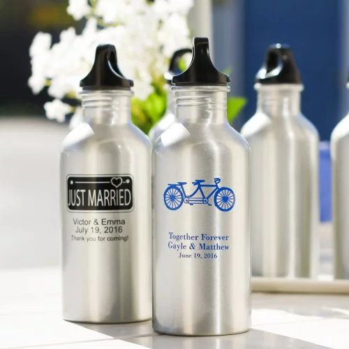Personalized water canisters make for practical wedding favors