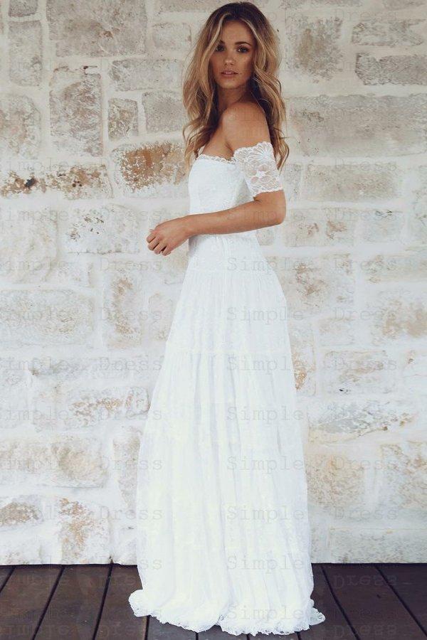 A-Line off-the-shoulder Boho Lace Wedding Dress