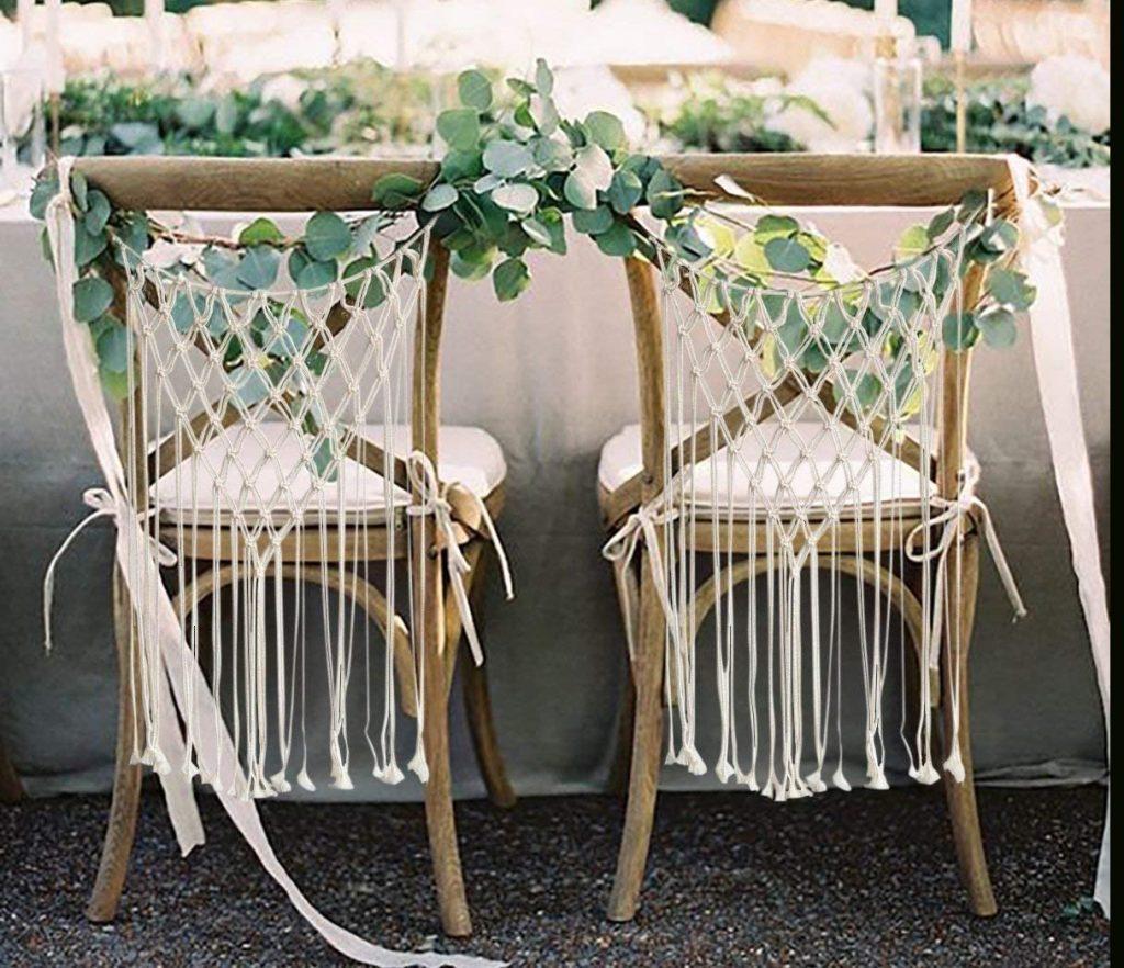 Boho Handmade Macrame Bride & Groom Chair Decoration