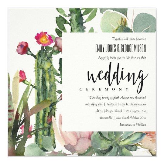 Boho Pink Floral Desert Protea Cacti Foliage Wedding Invitation