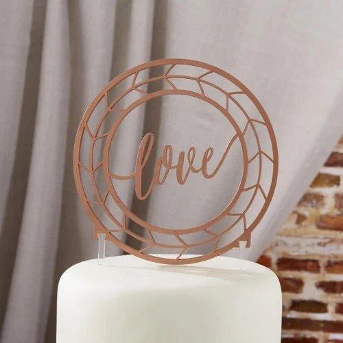 Love Copper Wedding Cake Topper