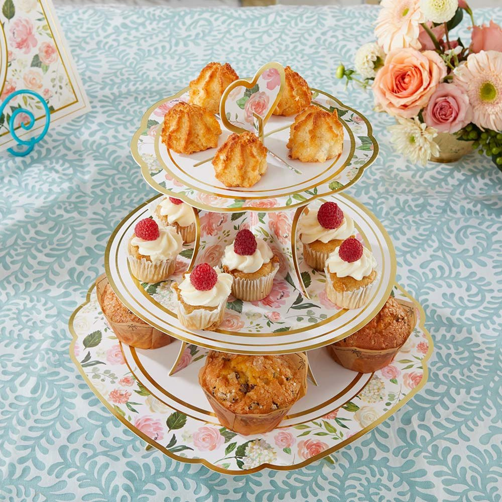 Floral 3 Tier Cupcake Stand