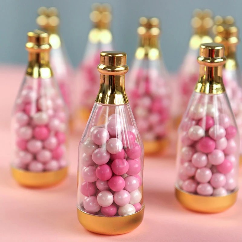 Gold Metallic Champagne Bottle Favor Containers
