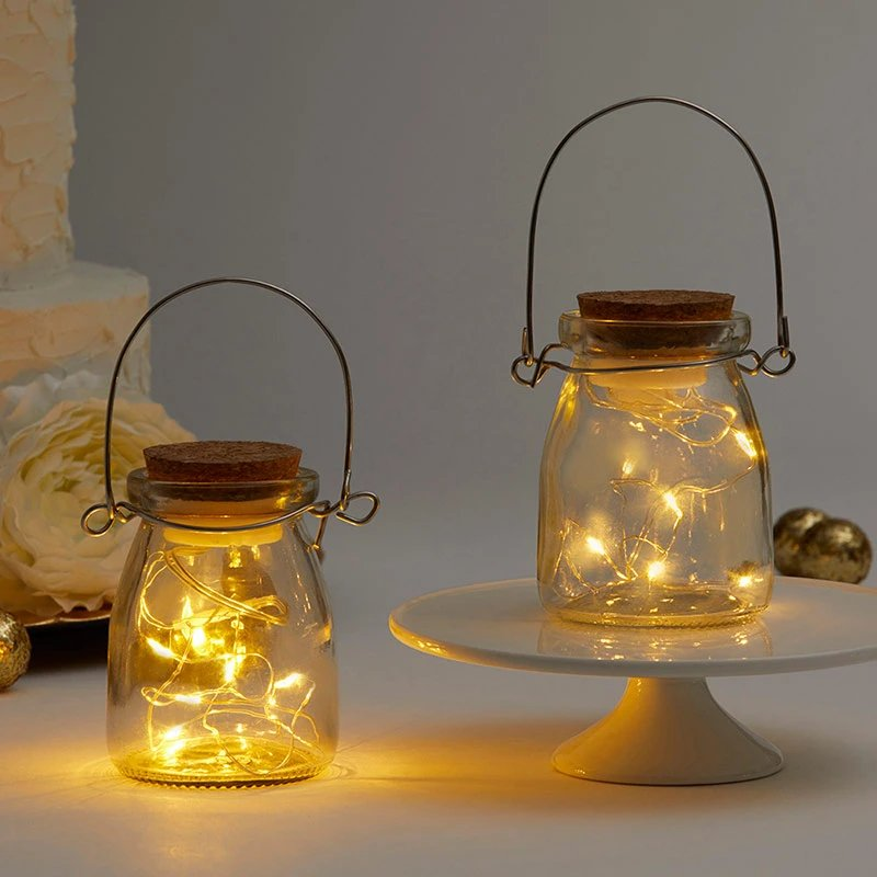 Hanging Clear Jars With Fairy Lights Wedding Decor