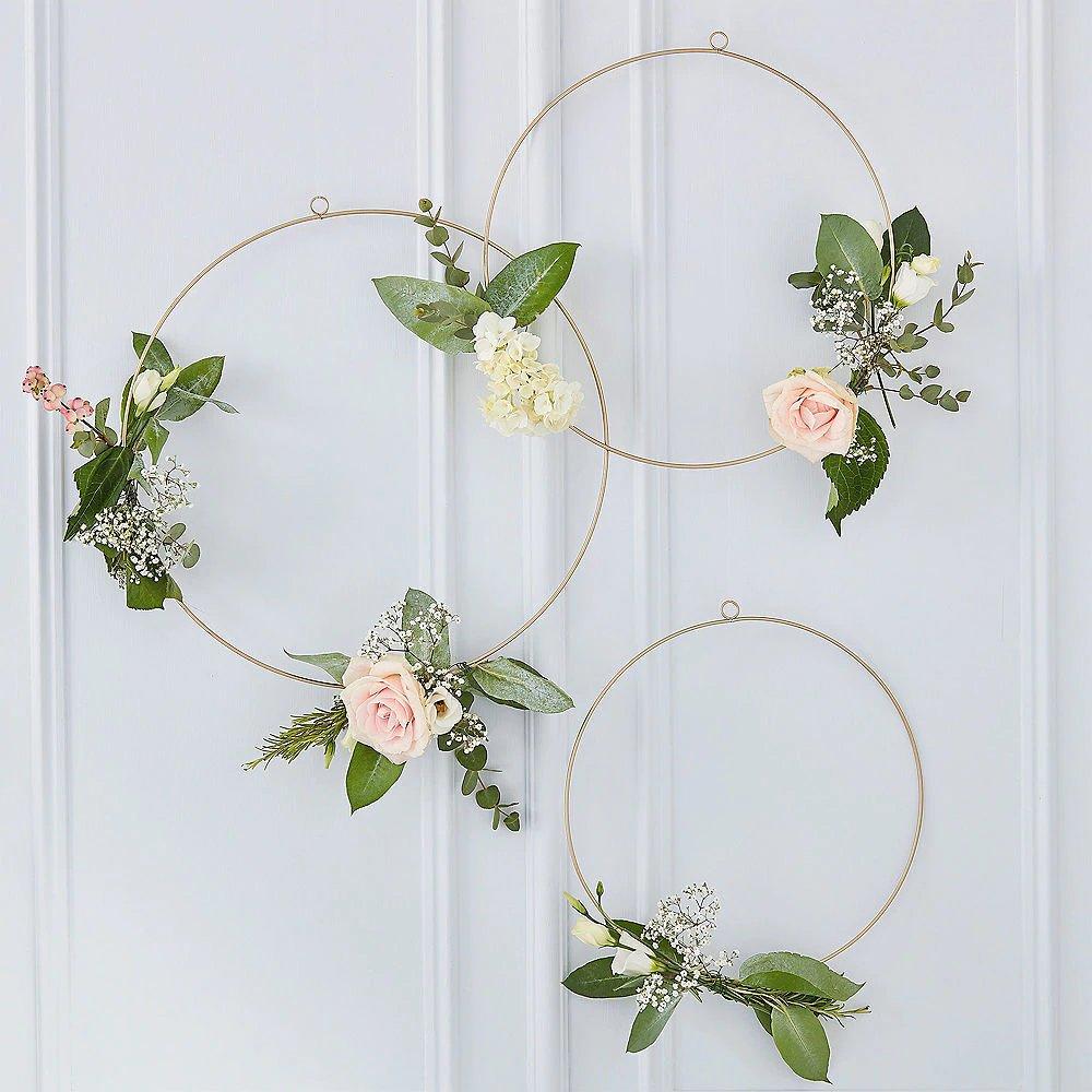 Metallic Gold Flower Wreaths Champagne Bridal Brunch Decor Idea