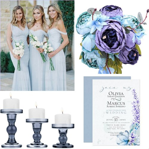 Modern Light Blue And Purple Wedding