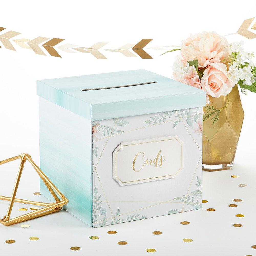 Modern Beach Wedding Geometric Floral Wish Card Box