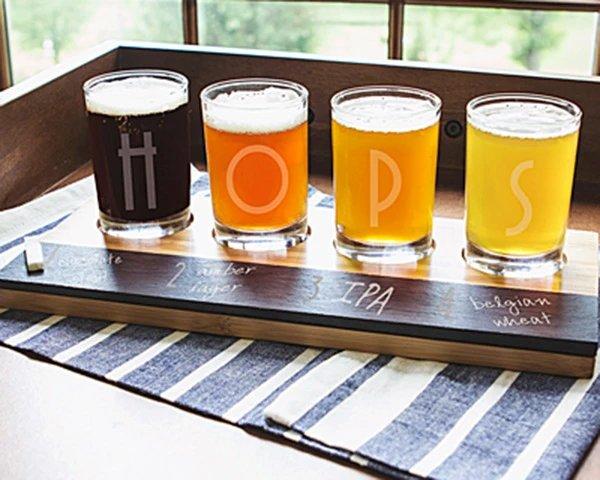 Personalized Bamboo Beer Tasting Flight Groomsmen Gift Ideas