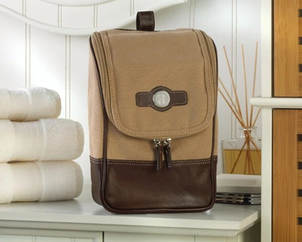 Personalized Brown Canvas and Leather Travel Kit