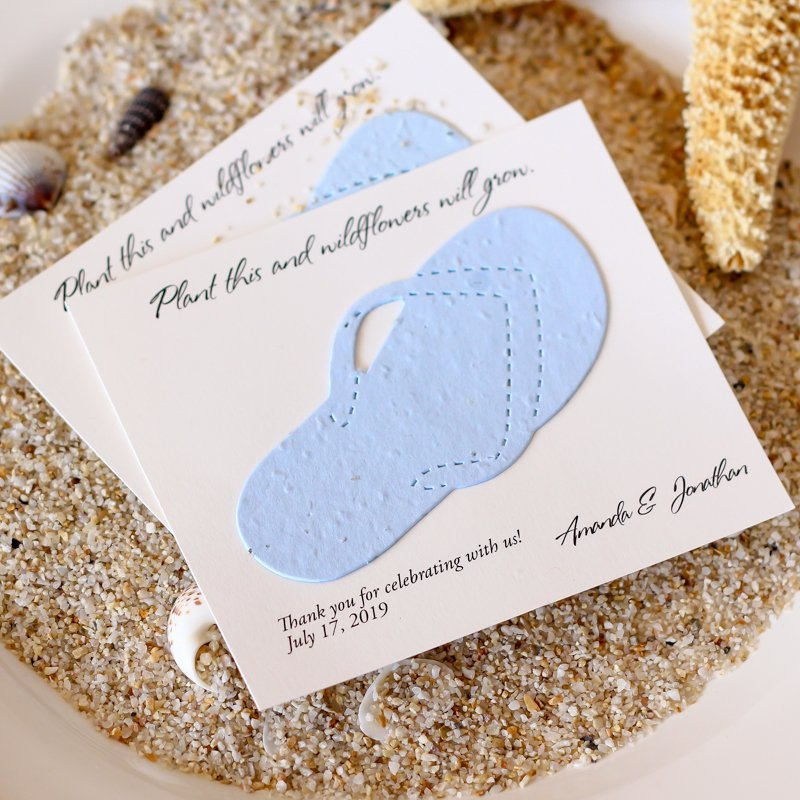 Personalized Beach Themed Plantable Seed Card Wedding Favors