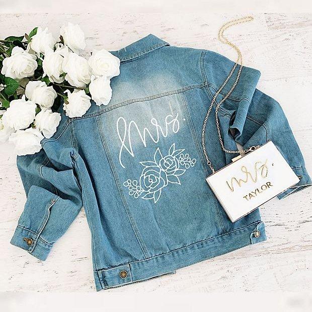Printed & Floral Jean Jacket Beach Wedding Idea