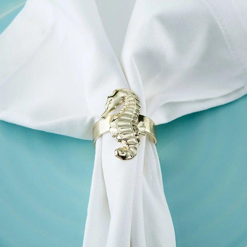 Gold Seahorse Napkin Ring Favors
