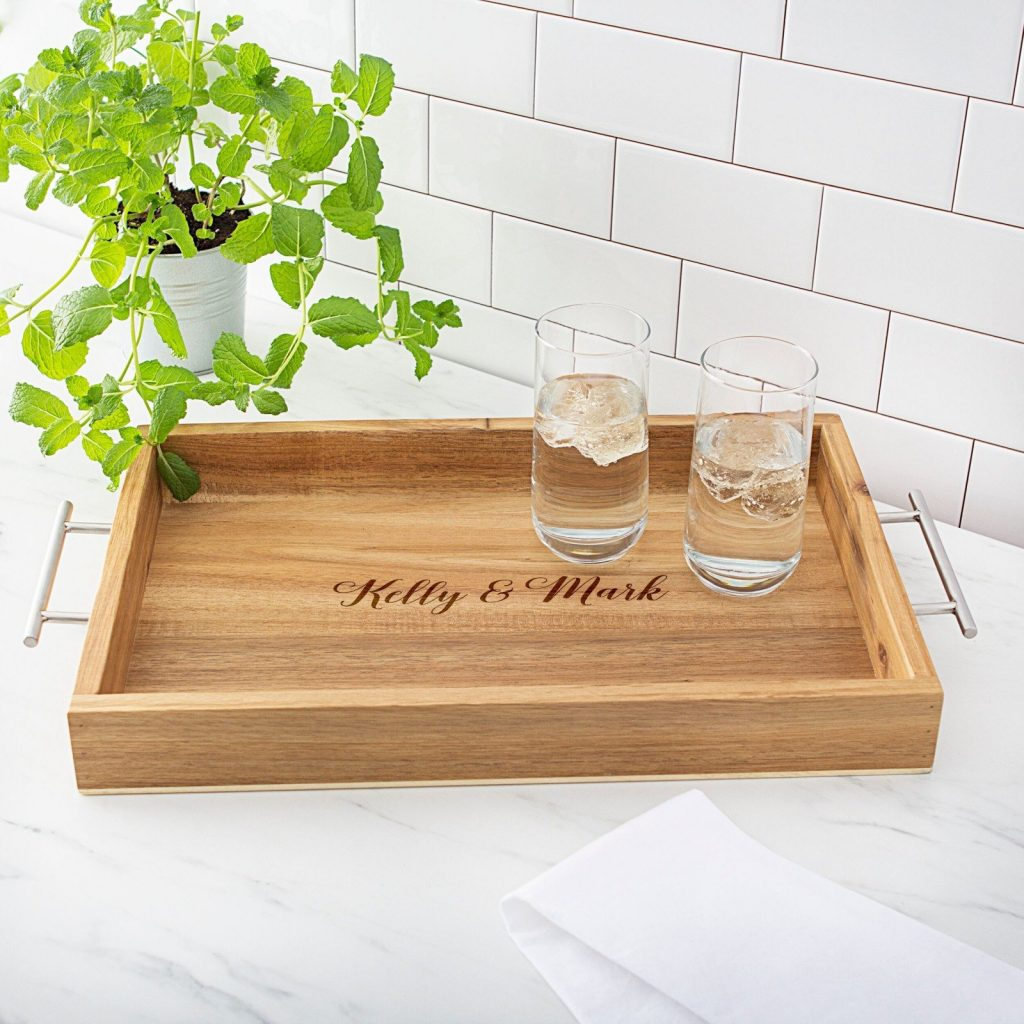 Personalized Acacia Serving Tray Stock The Bar Wedding Shower Gift Idea