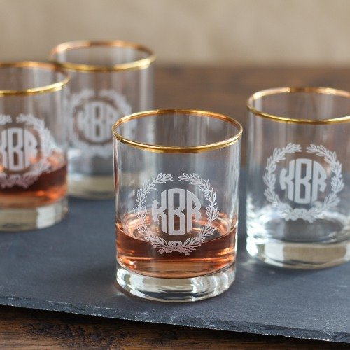 Personalized Old-fashioned Glass Set Bridal Shower Gift Idea