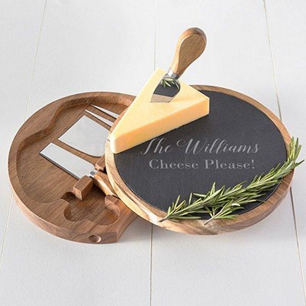 Personalized Slate & Acacia Cheese Board Wedding Shower Gift