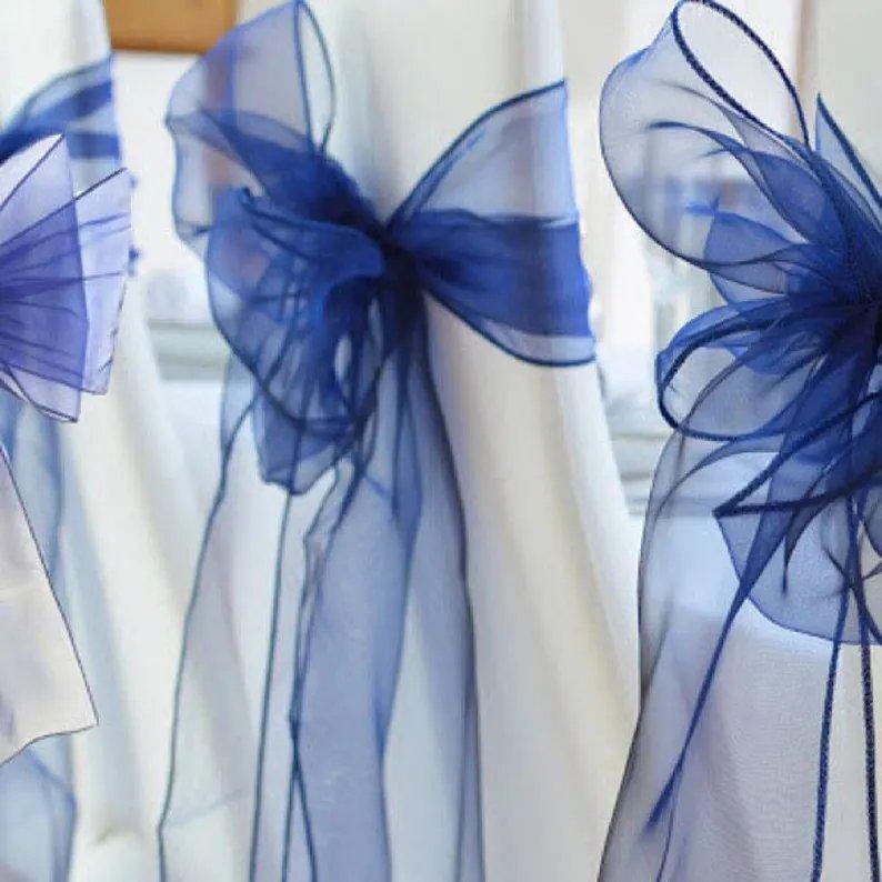 Navy Blue Organza Wedding Chair Sashes