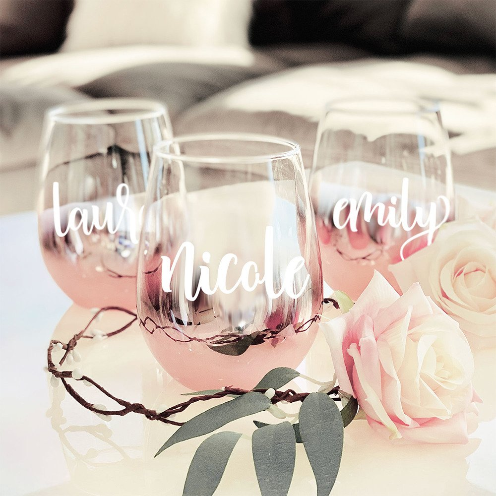Personalized Rose Gold Stemless Glasses Sleepover Party Bridal Shower Theme Idea
