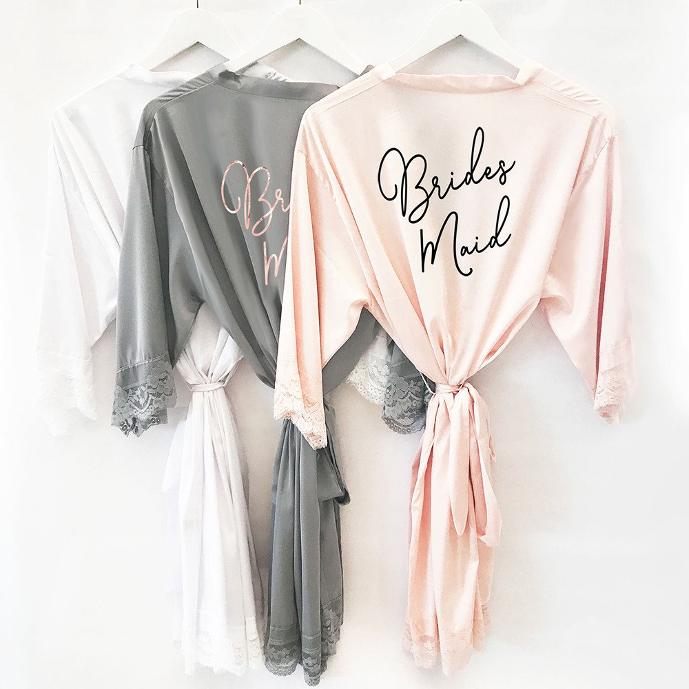 Slumber Party Bridal Shower Theme Satin Lace Robes