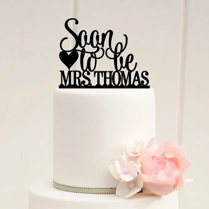 Soon To Be Mrs. Bridal Shower Cake Topper