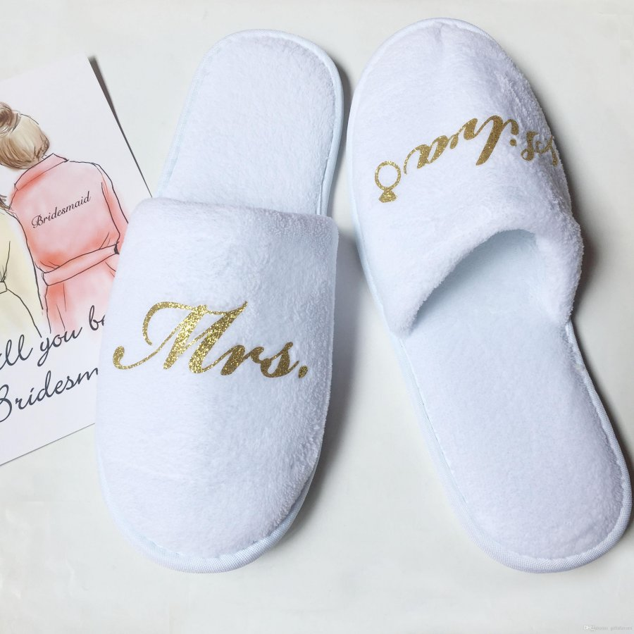 Personalized Bridal Slippers Slumber Party Bridal Shower Theme Idea