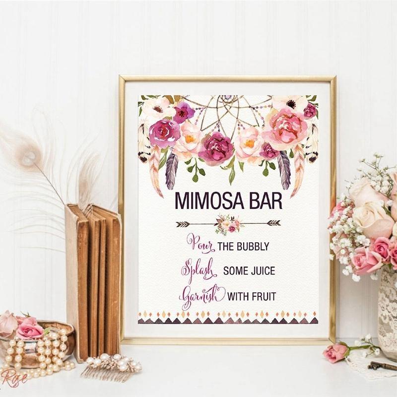 Pajamas Bridal Shower Theme Watercolor Floral Mimosa Bar Sign