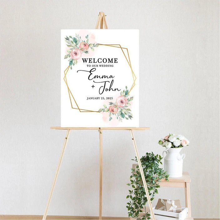 Custom Floral Canvas Wedding Guest Book and Welcome Sign