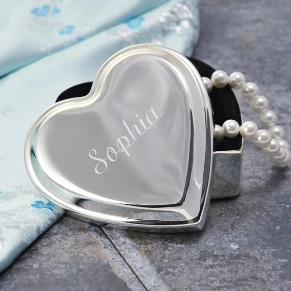 Engraved Silver Heart Keepsake Box