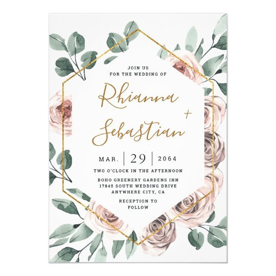 Geometric Floral Greenery Wedding Invitation