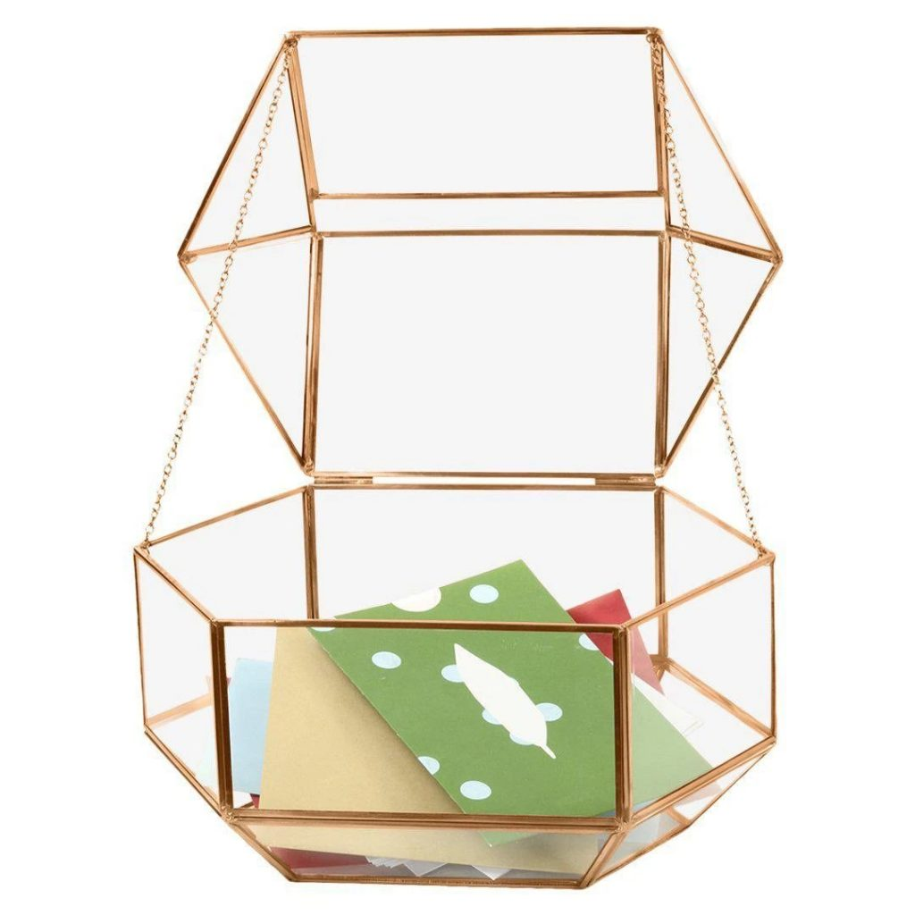 Geometric Glass Wedding Card Box