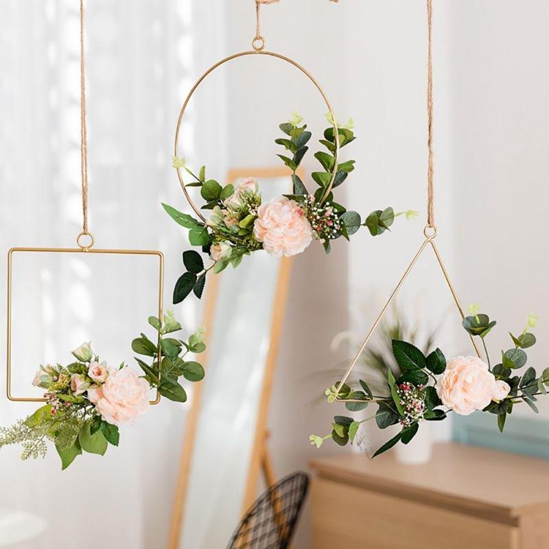 Modern Geometric Metal Wire Wreath Hoop Wedding Decor