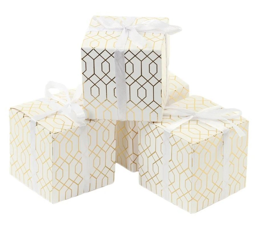 Geometric Design Modern Square Wedding Favor Boxes
