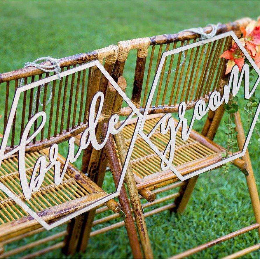 Modern Wedding Geometric Bride & Groom Chair Signs