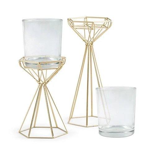 Geometric Candle Stand Set Modern Geometric Wedding Table Decor