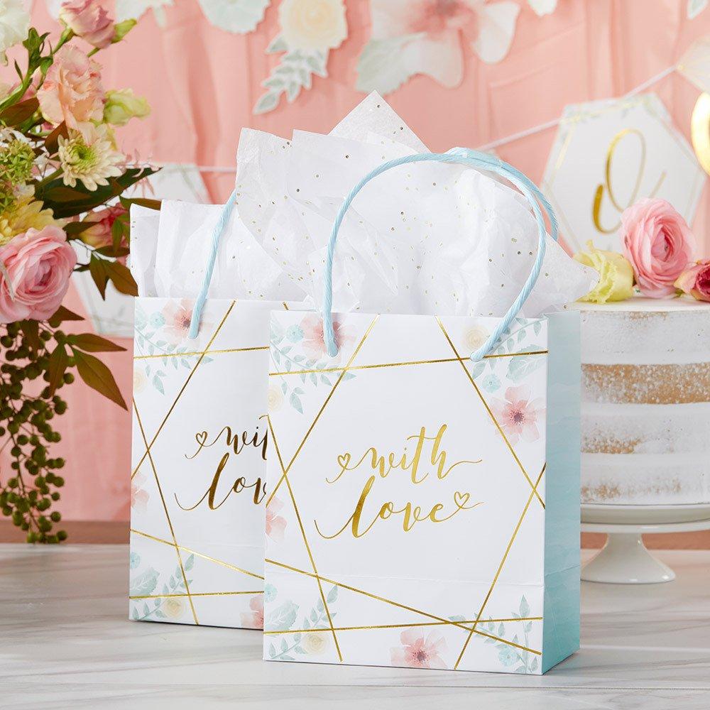 Modern Wedding Geometric Floral Gift Bags