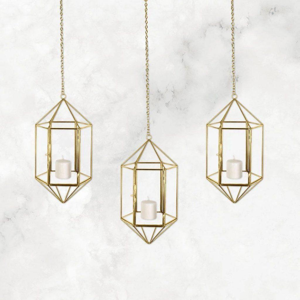 Modern Wedding Geometric Glass Hanging Lantern Set