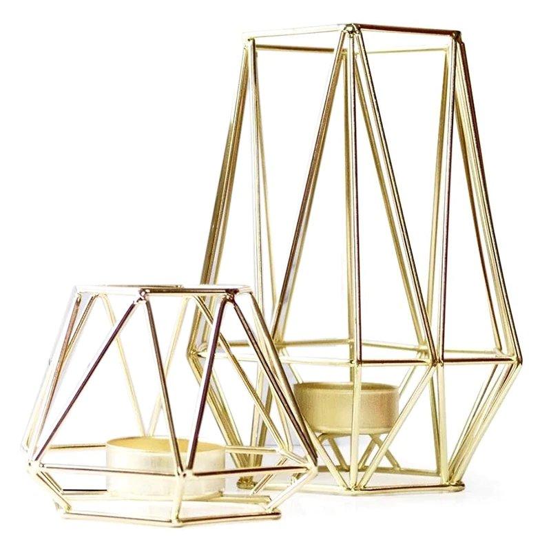 Modern Wedding Geometric Gold Tea Light Holder Set
